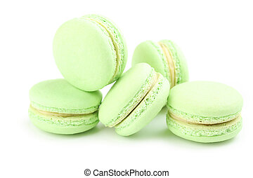 Tasty green macarons isolated on white