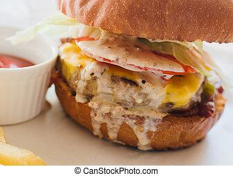 Tasty grilled beef burger