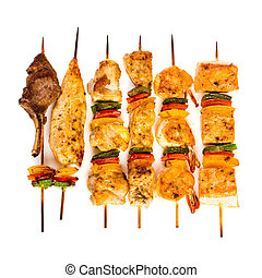 Tasty grilled meat, shish kebab - Tasty grilled meat on a...