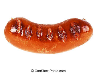 Tasty grilled sausage isolated on a white background