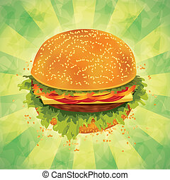 Tasty hamburger with tomato, pepper, cheese and ham on grunge background. Vector illustration.