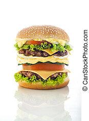 tasty Hamburger over white background