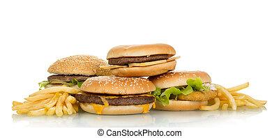 Tasty hamburger sandwiches