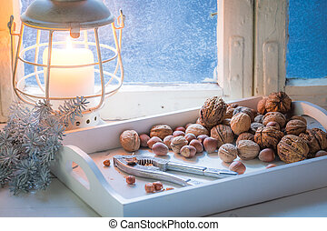 Tasty hazelnuts and walnuts and nutcrackers for Christmas
