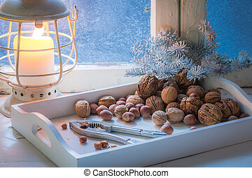 Tasty hazelnuts and walnuts for Christmas in cold night