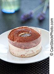 tasty home made tiramisu cake with chocolate