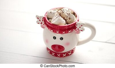 Tasty homemade christmas hot chocolate or cocoa with...