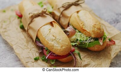 Tasty homemade sandwiches Baguettes with various healthy ...