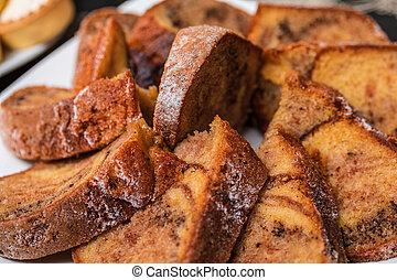 Tasty homemade traditional fruit cake