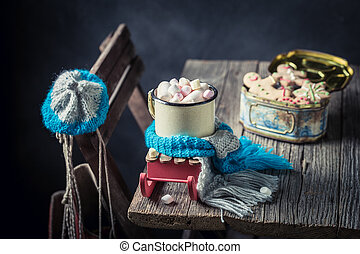 Tasty hot chocolate with marshmallows for Christmas