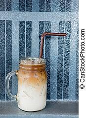 tasty ice coffee in mason jar