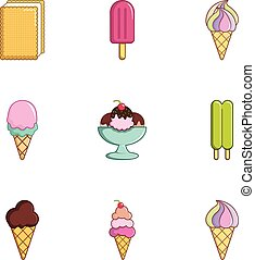 Tasty ice cream icons set, flat style