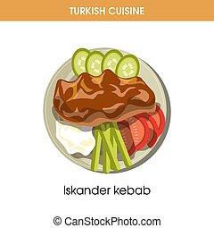 Tasty Iskander kebab with vegetables from Turkish cuisine