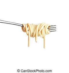 Tasty Italian dinner. - Creative still life photo of a fork...