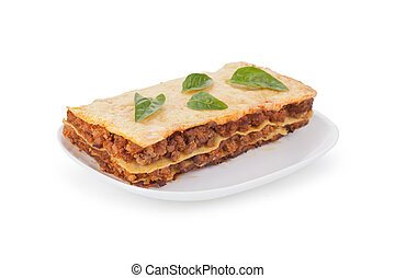 tasty lasagna isolated on a white background