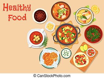 Tasty lunch dishes icon for food theme design