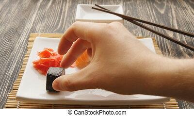 Tasty maki sushi put in a plate