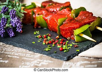 tasty meat and vegetables skewers