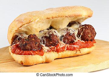 Tasty meatballs sandwich in a ciabatta