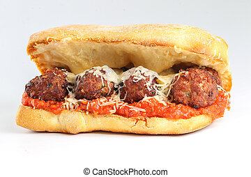 Tasty meatballs sandwich in a ciabatta