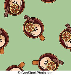 Tasty mulled wine drink in a cup with cinnamon and citrus cute cartoon seamless pattern