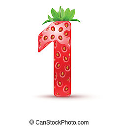 Tasty numbers - One number in strawberry style with green...