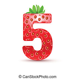 Tasty numbers - Number five in strawberry style with green...