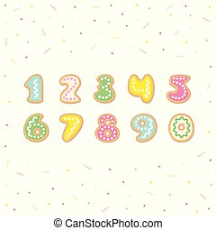 Tasty numeral, vector cartoon set of cookies numbers