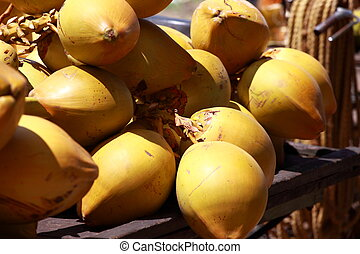 Tasty organic coconuts at local market in India