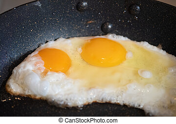 Tasty over easy fried egg in frying pan, closeup