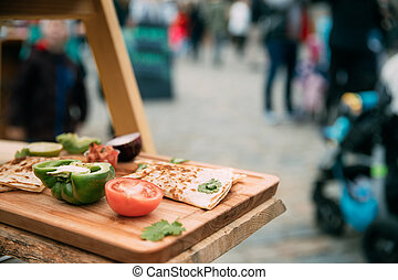 Tasty Pancakes And Vegetables Lie On The Wooden Board At A ...
