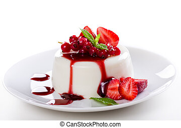 Tasty Panna Cotta - Close up photograph of a tasty panna...