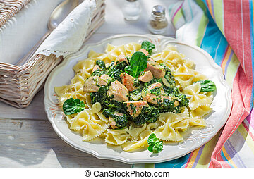 Tasty pasta with chicken and spinach