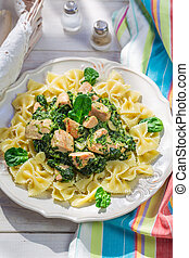 Tasty pasta with spinach and chicken
