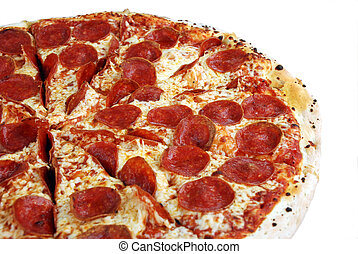 Tasty pepperoni pizza on a white background