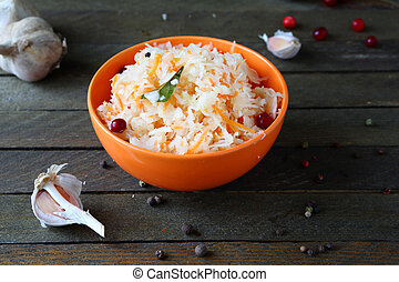 tasty pickled cabbage with garlic and cranberries, food ...