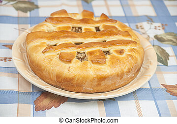 Tasty pie with filling on the plate