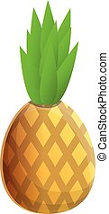 Tasty pineapple icon, cartoon style