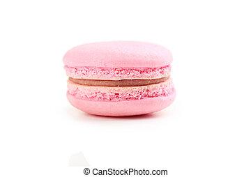 Tasty pink macaron isolated on white