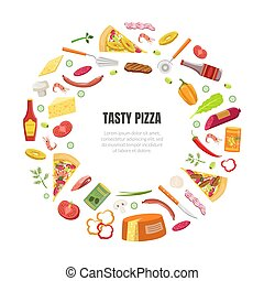 Tasty Pizza Banner Template with Cooking Ingredients of Circular Shape Frame and Space for Text Vector Illustration