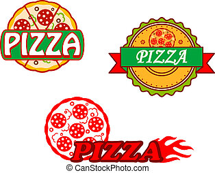 Tasty pizza banners and emblems set for cafe and restaurants design