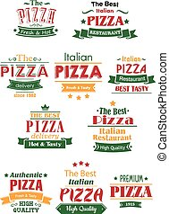 Tasty pizza headers and signboards set