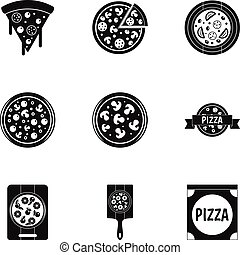 Tasty pizza icons set, simple style