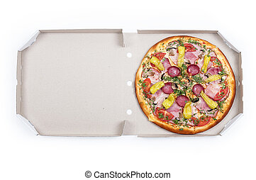 Tasty pizza in box