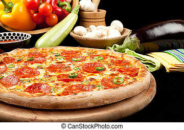 Tasty Pizza - Tasty pizza with salami and pepper