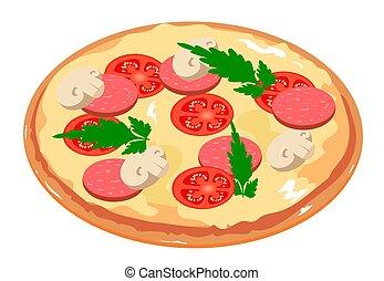 Tasty pizza with tomato, mushrooms, salami and parsley. Italian pizza icon.