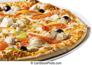 Tasty pizza with vegetables and cheese