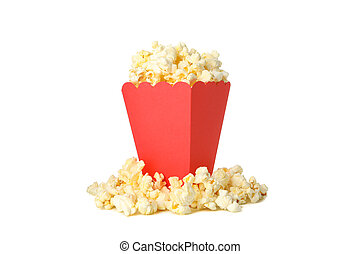 Tasty popcorn in cardboard box isolated on white background