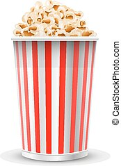 Tasty popcorn isolated on a white b