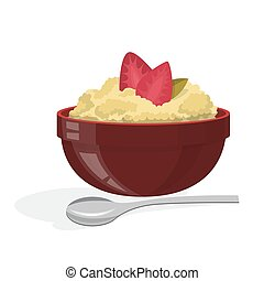 Tasty porridge with strawberry in a bowl